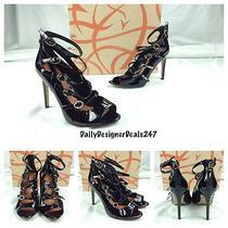 Via Spiga New Sexy Black Patent Leather Strappy Open Toe Pumps Heels Sz 7 295 Photo