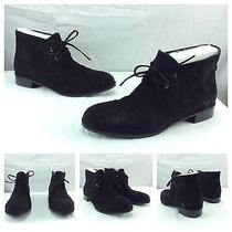 Via Spiga New Sexy Black Suede Leather Lace Up Designer Loafer Shoes Boots Sz 7 Photo