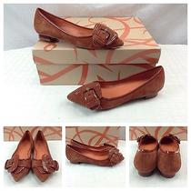 Via Spiga New Sexy Burnt Orange Leather Buckle Ballet Flats Shoes Sz 5 198 Photo