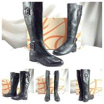 Via Spiga Nwb Idelissa Black Knee High Equestrian Riding Biker Boots Sz 8.5 398 Photo