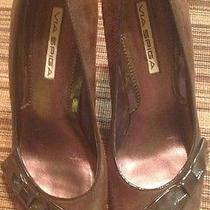 Via Spiga Open Toe Suede & Patent Leather Brown Heels Sz-9 Sexy Stilletos Photo