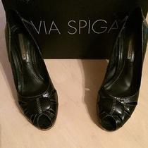Via Spiga Papa Genuine Black Leather Padded Women's Heels Size 7 Photo
