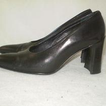 Via Spiga Pump 90s Black Leather Chunky Square Heel Italy 6.5 M Photo
