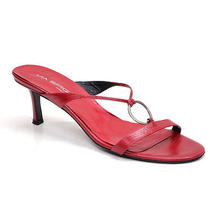 Via Spiga Red Leather Slides Sandals Shoes Ladies 9.5 M Heels Made in Italy Photo