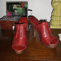 Via Spiga Red Leather W/tassles Womens Shoes Clog Mules Sandals 10m Open Toe Photo