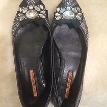 Via Spiga Rhinestone Silver and Black Flats Size  Photo