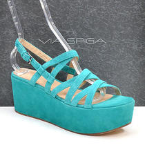 Via Spiga Robin Turquoise Suede Platform Sandals Shoes Ladies 9.5 M New in Box Photo