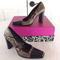 Via Spiga Sexy Black Leather Snake Skin Designer Italy Heels Pumps Sz 5.5 395 Photo