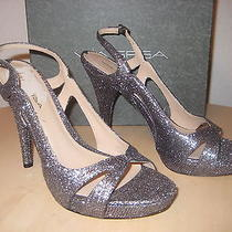 Via Spiga Shoes Size 8 M Womens New Adrianna 2 Silver Sparkly Open Toe Heels Photo