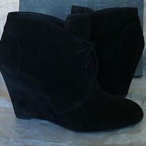 Via Spiga Shoes v-Sophie Booties Black Leather - Suede Wedge Ankle Boot 9.5 M Photo