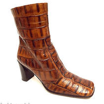 Via Spiga Size 7 1/2 Cognac Brown Alligator Print Leather Ankle Boots Italy 7.5 Photo