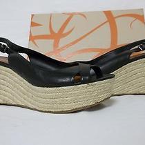 Via Spiga Size 8 M Luciana Black Leather Slingbacks Wedges New Womens Shoes Photo
