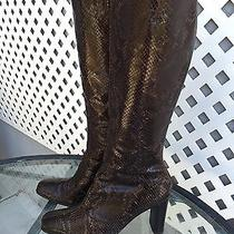 Via Spiga Snake Skin Leather High Heel Zip Up Boots Sz 8.5 Made in Italy Photo