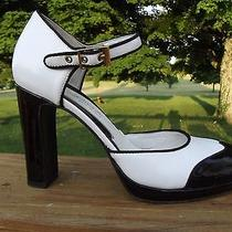 Via Spiga Spectator Shoes Heels Mary Janes Black White Leather Italy Sz 7  Photo