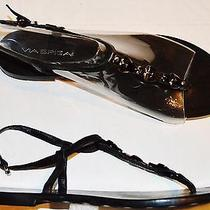 Via Spiga Sz 7.5 M Black Leather Thong Gladiator Sandals Flats  Photo
