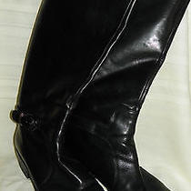 Via Spiga Tall Black Riding Boots 8m Black / Chrome Hardware Photo