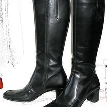 Via Spiga Tall Knee High Black Leather Boot 2 3/8
