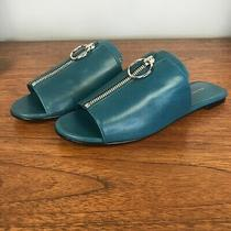 Via Spiga Turquoise Slide Sandals W/ Front Zip 5 Photo