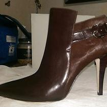 Via Spiga v-Mica Chocolate Brown Leather Ankle Boots 9 1/2 9.5 M Brand New Photo