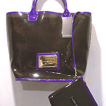 Via Spiga Vinyl Jelly Plastic Tote Bag With Cosmetic Case Black & Purple Photo