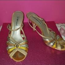 Via Spiga Vtg 20s 30s Slingback Heels Yellow Orange Copper Gold Size 7 Very Worn Photo