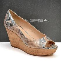 Via Spiga Wanda Snake Wedge Sandals Shoes Ladies 8.5 M High Heels New in Box Photo