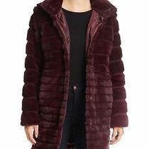 Via Spiga Wine Lush Faux Fur Chubby Jacket Size M 198 Msrp Nordstrom Photo