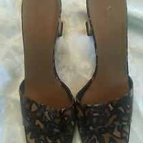 Via Spiga Women's Animal Print Leather Mules Shoes W/lacquer Kitten Heels 8.5 N Photo