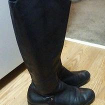 Via Spiga Women's Bad Ass Black Leather Riding Boots Sz 9 Knee High Motorcycle Photo