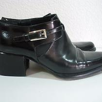 Via Spiga Women's Black Leather Ankle Boots Sz 7.5b Photo