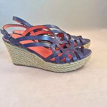 Via Spiga Women's Blue Leather Rope Wedge Slingbacks Sandals Shoes Size 8.5 M Photo