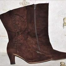 Via Spiga Women's Dark Brown Suede Lace Up Boots Made in Italy  Size 10b Photo