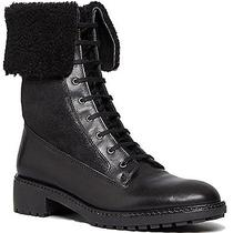 Via Spiga Women's Evi Shearling Black Leather Combat Boots 7.5 M Orig 395 Photo