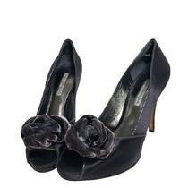 Via Spiga Women's Gray Satin Leather Peep Toe Slip on High Heel Pumps Size 7.5m Photo