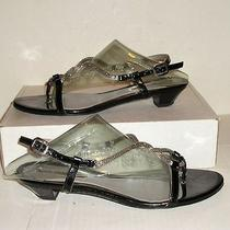 Via Spiga Women's Italian Black Patent Leather Dress Thongs Sandals 6.5 M Sale Photo