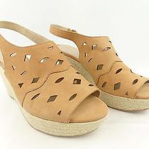 Via Spiga Women's Katrina Tan Leather Platform Wedge Slingback Sandals Sz. 9.5 M Photo