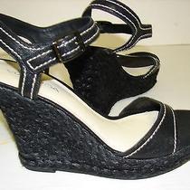 Via Spiga Women Sandal Shoe 9.5 Espdrilles Leather Wedgeraffia Heel 180  Photo