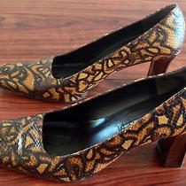 Via Spiga Women Sz 9m 9 Medium Brown Leather Heels Shoes Pumps Snake Skin Look Photo