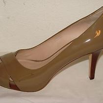 Via Spiga Womens Cashmere Beige Patent Leather Peep Pump Shoe Nwob - Size 10m Photo