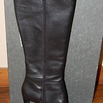 Via Spiga Womens Christy Black Leather High Boots W/heels Size 8 M Photo