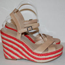 Via Spiga Womens Nude Multi-Colored Strappy Wedges Shoe Size 9 M Photo