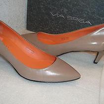 Via Spiga Womens Nwb Angie Mushroom Leather Heels Shoes 7 Med New Photo
