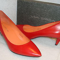 Via Spiga Womens Nwb Angie Red Leather Heels Shoes 6 Med New Photo
