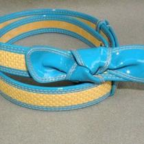 Via Spiga Womens Patent Bow Belt Aqua Natural One  Size New Photo