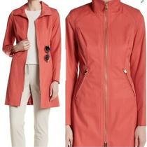 Via Spiga Womens Pink Rain Coat Water Repellent Coral Size M Msrp 180 Jacket Photo