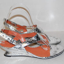 Via Spiga Womens Silver Low Wedge Heels Shoe Size 7 M Photo