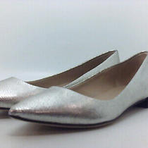 Via Spiga Womens Velvet Leather Pointed Toe Slide Flats Platinum Size 5.5 Qnan Photo