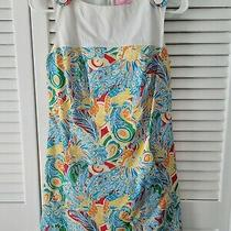 Vibrant Lilly Pulitzer Peacock Dress Size 0 Blue Orange Yellow Shift Like Dress Photo