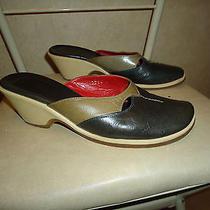Vic Matie Italy Navy Blue Us Sz 6-6.5 Leather Slide Mule Heels Women Size 36 Eu Photo