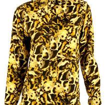 Victoria Beckham 1115 Leopard Fur Print Stretch Jersey Shirt Blouse 2 Photo
